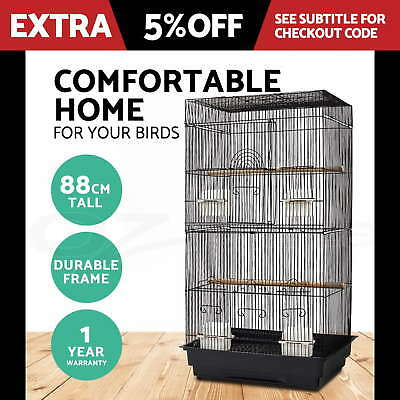 Bird Cage Parrot Pet Carrier Portable Canary Budgie Finch Perch Small Black