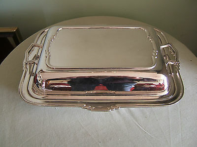Harrods 'art Deco' Silver Plated Entree Dish  With Lid  (Looking As Never Used)