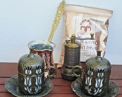 Turkish Coffee Set, Cups Cezve Coffee Grinder Antic Brass Porcelain Free Ship M5