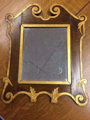 Antique 19th Century Olive Wood Wall Mounting Bevelled Italian Gilded Mirror