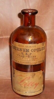 c1915 Antique Amber Pharmacy Bottle Eli Lilly  Viburnum Opulus Cramp Bark