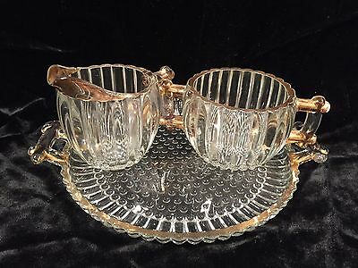 Jeanette Glass Ribbed Hobnail Serving Tray & Matching Cream & Sugar w/Gold Trim