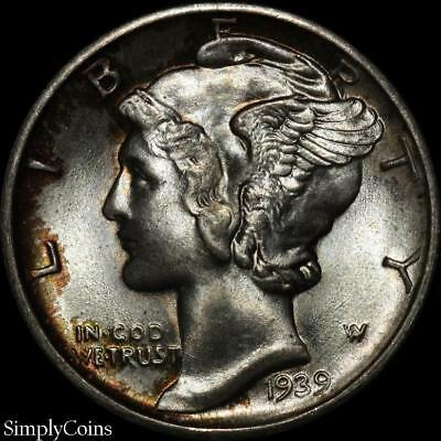 1939-D Mercury Silver Dime ~ BU Uncirculated ~ TONED! SKU-779
