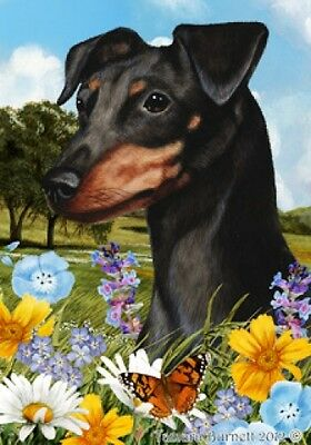 Garden Indoor/Outdoor Summer Flag - Unc. Black & Tan Miniature Pinscher 180841