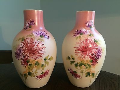 Pair of Victorian Bristol Glass Mantle Vases Hand Painted Raised Enamel Signed.