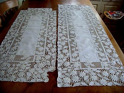 2 X  Exquisite Vintage Hand Embroidered Linen Large Table Runners Tablecloths