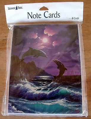 NEW Pkge LEANIN' TREE 8 Note Cards & Env 2 Dolphins Playing Leaping #BTN35149