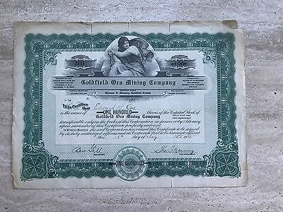 1915 Goldfield Oro Mining Co Stock Certificate NV