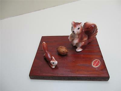 Vintage Bone China Mother Squirrel, Baby & A Nut Figurines On Wooden Base