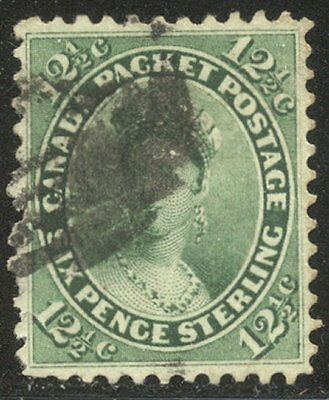 CANADA #18 Used VF - 1859 12 1/2p Yellow Green ($130)