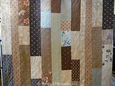 Antique Quilt - Strippy Pieced Bars c1830 Liberty Print Early Fabrics (JG9)