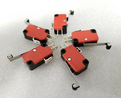 5x Roller Lever Arm Micro Switch Microswitch 15A AC 250V RepRap 3D Printer