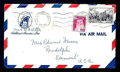 1950's Casablanca Maroc cancel on airmail Holland America Lines to Vermont Cover
