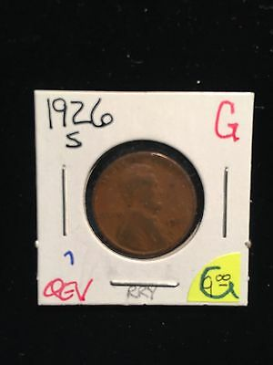 1926 S San Francisco Semi Key Date Lincoln Cent Penny Good Coin NR 5