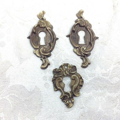 Set of 3 French Style Antique Keyhole Covers Escutcheons Lot