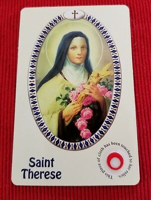 Vintage RELIC holy card ST THERESE ~ PIECE OF CLOTH TOUCHED  Italy Catholic Real