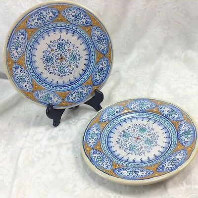 "Set of 2 Deruta Italy 7 1/8"" Side Salad Plates Lot Pottery"