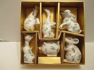 Apropos Home Collection Ceramic Set Of 6 Animals Rabbits Pig Hen Cat Goose