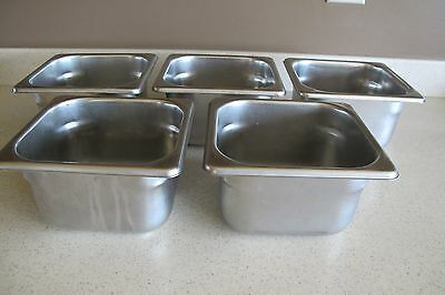 "5 Polar Ware 18-8 Stainless Steel 1-3/4 QT Sz 4"" Deep Steam Table Food Pans NSF"