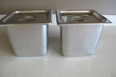 "2 Polar Ware 18-8 Stainless Steel Deep Steam Pan w Lid 6"" x 5.5"" x 6"" USA 606"