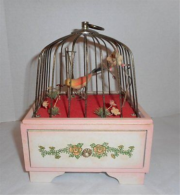 Vintage Swinging Bird Cage Music Box With Jewelry Drawer