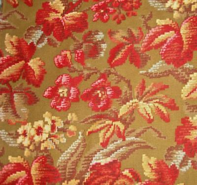 BEAUTIFUL ANTIQUE 19th CENTURY FRENCH FLORAL LINEN & COTTON, GREAT DESIGN