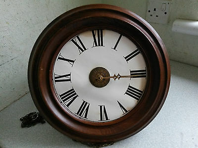Antique 19Thc Weight Driven Wooden Wall Clock -    - Restoration  -1