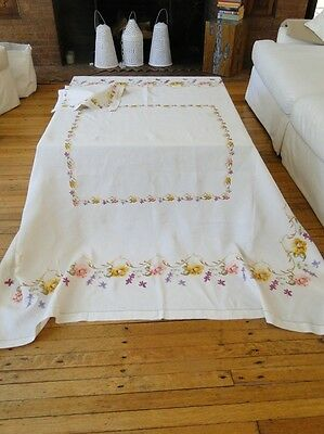 Antique Linen-Lovely Royal Society Tablecloth/napkins W/silk Polychrome Flowers