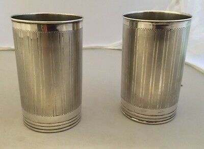 Pair Stylish c1920s Art Deco Engine Turned Silver Beakers