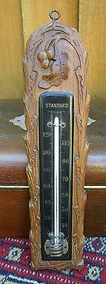 Antique Hand Carved Wooden Black Forest Wall Hanging Thermometer ~ Working
