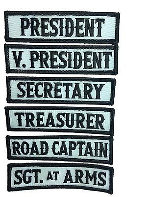 Officer Title Rank Vest Patches President VP MC Biker club Patch (6pc-Iron On)