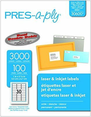 Pres-A-Ply Laser Address Labels 1 x 2-5/8 White 3000/Box, New