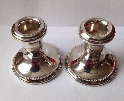 Vintage Hallmarked Pair Of Silver Candle Sticks By W I Broadway & Co.