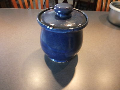BLUE Pottery Canister with Lid HAND MADE
