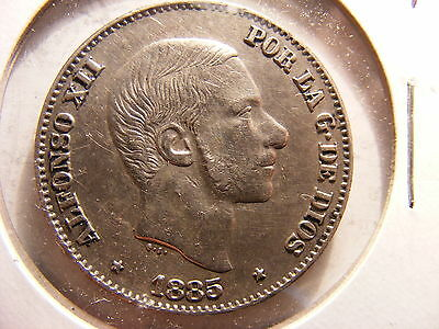 Philippines 50 Centimos, 1885 over 1880, XF