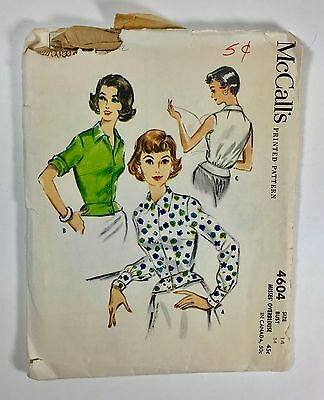 Vintage 1950s McCALL'S Sewing Pattern Women's Blouse Top Peplum B = 34 Size 14