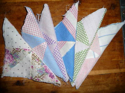 Antique Vintage Lot of 6 PINWHEEL Quilt Blocks  c. early 1900's