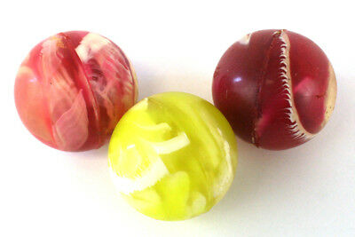 """Lot Of Three Pink & Yellow Super Bouncy Balls 1 3/8"""" Swirled With White"""