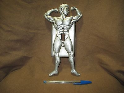 vintage Figural Light Switch Plate Cover nearly NUDE MAN Bodybuilder Risque