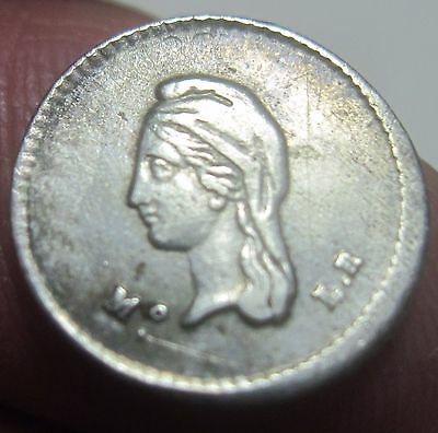 1843 Mo-LR (MEXICO) 1/4 REAL (CUARTILLA) SILVER --very scarce---