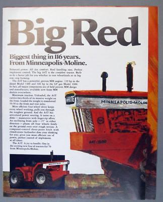 Orig 1970 Minneapolis Moline Ad BIG RED IS HERE A4T. ALSO G950 G1050 G1350 4 Pg