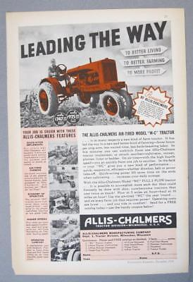 Original 1936 Allis Chalmers Tractor Ad AIR TIRED MODEL W-C LEADING THE WAY