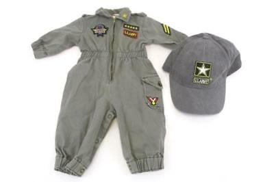 Infant Jumper U.S. Army 6-9 Months Green Zip Up Snap Bottom and U.S. Army Hat