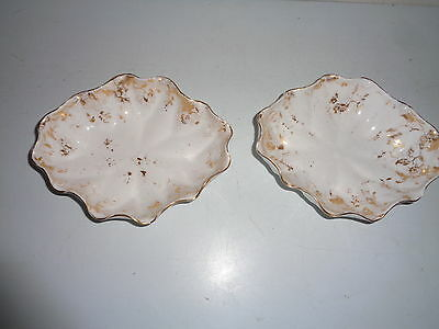 Vintage Pair of Tuscan Fine English Bone China Candy Dishes with Golden Blossom