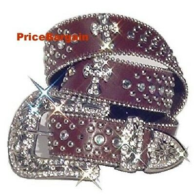 New Women Rhinestone Crystal Bling Brown Cross Leather Snap On Buckle Belt M SM