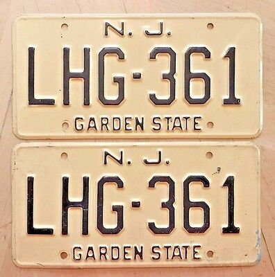 "New Jersey Auto Passenger License Plate Plates Matching Pair "" Lhg 361 "" Nj"
