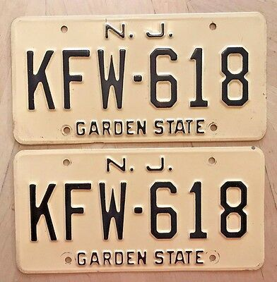 "New Jersey Auto Passenger License Plate Plates Matching Pair "" Kfw 618 "" Nj"