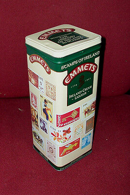 """EMMETS Creme Liqueur TIN Stamps of Ireland 2nd EDITION 10 x 4 x 4"""" hinged lid"""