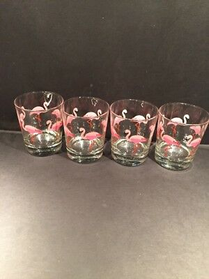 IKEA Pink Flamingo Hard Rock Barware Glasses Set of 4 Made In France
