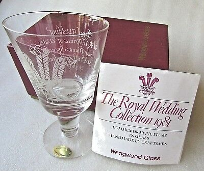 Royal Wedding Marriage Charles & Diana Wedgwood Glass Coblet  Mib